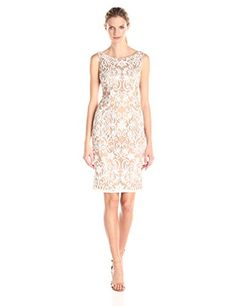 73ff66640e0 Adrianna Papell Women s Sequin Embroidered Sheath Dress