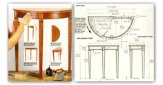Half Moon Hall Table Plans - Furniture Plans and Projects - Woodwork, Woodworking, Woodworking Plans, Woodworking Projects Woodworking Plans, Woodworking Projects, Table Plans, Furniture Plans, Projects To Try, Moon, How To Plan, Diy, Chairs