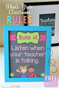 Do you use Whole Brain teaching as a classroom management approach with your students? Teach children the Whole Brain rules that are active, fun, and help them retain the important classroom rules! Head here for FREE printable posters! Whole Brain Teaching, Whole Brain Rules, Teaching First Grade, First Grade Classroom, Kindergarten Classroom Rules, First Grade Rules, Kindergarten Freebies, Classroom Procedures, Autism Classroom
