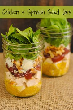 Chicken & Spinach Salad Jars - healthy and portable lunches for the work week! Lean chicken, sweet grapes, Asiago cheese, crunchy walnuts an...