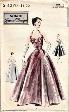 1950's Retro Evening Dress Pattern VOGUE by ShellMakeYouFlip, $145.00