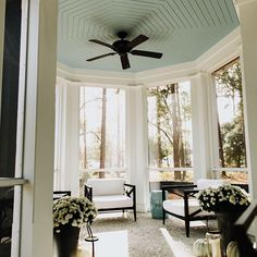 Shoreline Construction (@shorelineconstructionsc) • Instagram photos and videos Painted Ceiling, Building A House, Outdoor Furnishings, New Homes, Blue Ceilings, Modern Farmhouse, Covered Porch, Low Country, Modern Farmhouse Decor