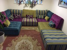 An effective colour pallette using three main shades for a family lounge.