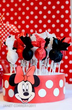 Fiesta Mickey Mouse, Red Minnie Mouse, Mickey Mouse Cake, Mickey Mouse Parties, Mickey Party, Mickey Mouse Clubhouse, Mickey First Birthday, Deco Disney, Mickey Mouse Centerpiece