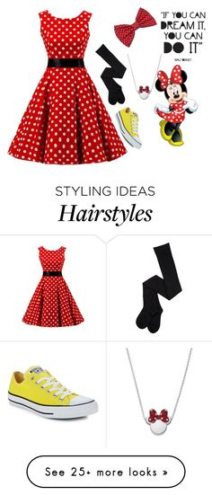 """""""Minnie Mouse"""" by ashleyleeannclark on Polyvore featuring Converse and Disney"""