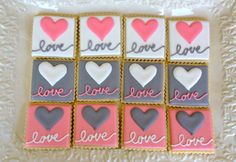 Love Wedding Bridal Shower Rehearsal Dinner by NotBettyCookies, $32.00  I adore these cookies (in different colors), for favors?