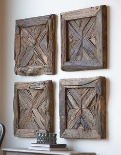 Reclaimed, Rustic Pine Wood Has Been Used In The Creation Of This Wall Art. Sold Individually; Not A Set Of Four. With The Unique Design Of This Item And Materials Used There Can Be Slight Variations