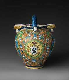 The grand form of this large ewer is matched by the pretensions of its political references. It bears four heraldic shields, linking the vessel to important members of the most powerful Florentine families of the early sixteenth century