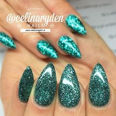 celinaryden | Instagrin | teal glitter almond shaped nails