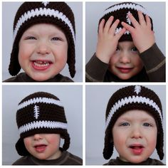 Crocheted football hat pattern - easily adjust to adult-sized head by increasing in more rounds. I have a basic hat pattern that I always follow, just use the right colors and add the football stitching in front.