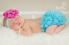 Fuschia Flower Satin Baby Headband and Turquoise Ruffle Baby Bloomer Set #kemaily