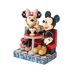 Jim Shore Disney Traditions - Mickey and Minnie Mouse In Soda Shop - Love Comes In Many Flavors