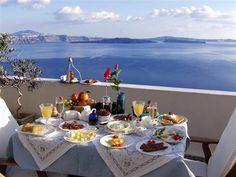 Breakfast at Captain's House in Santorini, Greece