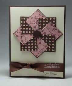 handmade greeting card .... pinwheel medallion design ... small print and layers evoke a quilt pattern ... photo tutorial on the blog ... luv the look of pink with chocolate and vanilla ... delightful card! ... Stampin' Up!