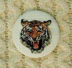 Needlepoint Tiger Beast Button