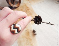 Brown chevron ring by CitrusCat on Etsy