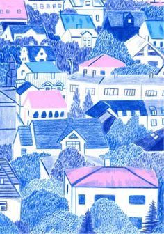 Coyote Atelier illustration love: Reykjavík by Laurel Pettitt Illustration Photo, House Illustration, Pencil Illustration, Graphic Design Illustration, Art Illustrations, Collages, Pencil Drawings, Art Drawings, Pencil Sketching