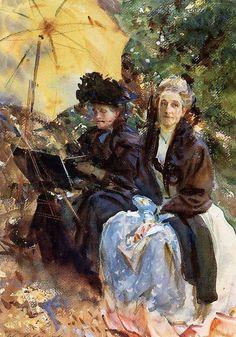 John Singer Sargent (American expatriate artist, 1856-1925) Miss Wedewood and Miss Sargent Sketching