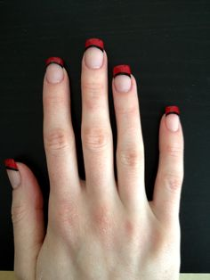 Red and black french nails french manucure, french tip nails, red Red French Manicure, Black French Nails, French Nail Art, French Tip Nails, Black Nails, French Tips, French Manicures, Black Polish, Homecoming Nails