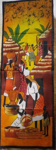 Huge African Art Batik - African woman