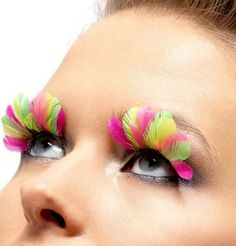 Amazon.com: Neon Multi Colored Feather Eyelashes: Toys & Games