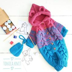 New baby crochet clothes sleeping bags Ideas Baby Knitting Patterns, Baby Girl Patterns, Baby Hats Knitting, Knitting For Kids, Crochet For Kids, Baby Boy Cardigan, Baby Pullover, Crochet Coat, Crochet Clothes