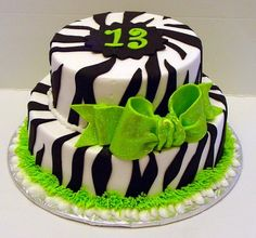 13th birthday cakes zebra!!!!!! PERFECT CAKE FOR A 13 YEAR OLD!!!!