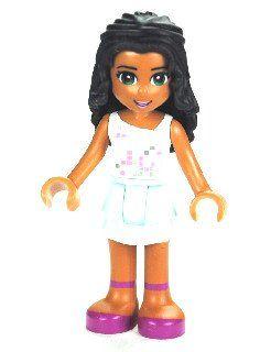 LEGO Friends: seltene Minifigur Chloe mit weissem Top und türkisfarbenem Rock