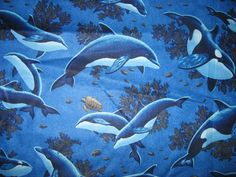 Timeless Treasures ~ Realistic Dolphins Blue ~ 100/% Cotton Quilt Sew Fabric BTY