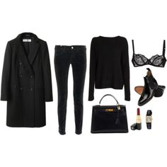 all black outfit with red lipstick