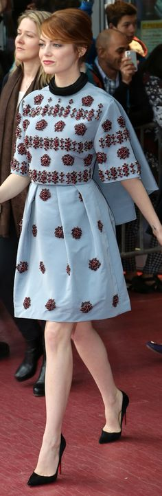 Emma Stone in Erdem at The Amazing Spider-Man 2's Berlin photo call.