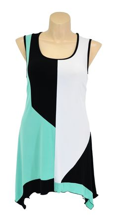 This lovely tunic boasts a scoop neckline and sleeveless cut with black contrast trim- Darts inserted on the bust- Along linefinish- Designed & Made In AustraliaThe scoop hem boasts an assymetrical finish so it is longer on the side seams for a fun