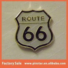 Cheap Custom Soft Enamel Tie Cap Lapel Pin Route 66 Shield Metal Pin Badge