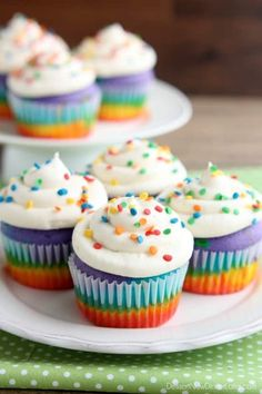 Rainbow Cupcakes are made with a simple boxed white cake mix, colored, and layered to make a rainbow, with whipped cream cheese frosting on top! (Includes photo tutorial, and tips on baking cupcakes to perfection!) :: Dessert Now Dinner Later Cupcake Videos, Cupcake Recipes, Dessert Recipes, Brownie Recipes, Rainbow Cupcakes Recipe, Colorful Desserts, Desserts To Make, French Desserts, Mini Cakes