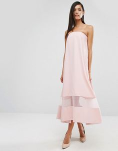 Aqaq sinead sheer panel midi dress by AQ/AQ. Midi dress by AQ/AQ, Woven fabric, Off-shoulder bandeau neckline, Sheer mesh insert, Side-zip fastening, Swing style,...