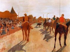 Edgar Degas  (French, Impressionism, 1834–1917)  Racehorses before the Stands (Chevaux de courses devant les tribunes), 1872  Oil on canvas,...