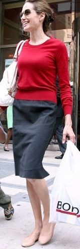 Look to try: red sweater, denim pencil skirt, nude flats