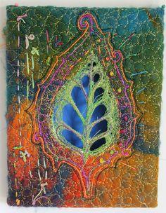 Gorgeous color and stitches Sashiko Embroidery, Embroidery Art, Machine Embroidery, Textile Fiber Art, Textile Artists, Wet Felting, Needle Felting, Fabric Postcards, Creative Textiles