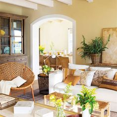 Yet, painting in color a ceiling is an original, surprising but also easily achievable way to quickly transform a room. Better, this solution can allow you to improve the layout of the room and… Continue Reading → Living Room Modern, Living Room Decor, Estilo Colonial, Spanish Home Decor, Deco Boheme, Interior Decorating, Interior Design, Apartment Living, Cottage Style
