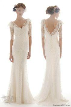 Elizabeth Fillmore French Lace Backless 3/4 Sleeve Wedding Dress | Elizabeth Fillmore Marka Fransiz Danteli Uzun Kollu Sirt Dekolteli Gelinlik