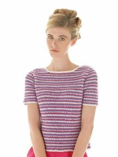 Buoy -  Buoy   Crochet this womens t shirt shape top from Rowan Knitting & Crochet Magazine 55, a design by Lisa Richardson using the ever popular yarn Wool Cotton 4ply (cotton and merino wool). With set-in sleeves and textured stripes, this pattern is for the intermediate knitter.