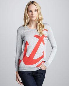 Joie Gray Valera Anchor Sweater #Nautical #NauticalFashion #Anchor #AnchorFashion #NauticalWomensFashion