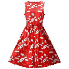 Boat Neck Christmas Santa Hat Printed Skater Dress ($23) ❤ liked on Polyvore featuring dresses, sleeved summer dresses, red summer dress, red sleeve dress, summer dresses and red dress