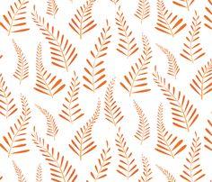 Ferns orange fabric by jillbyers on Spoonflower - custom fabric