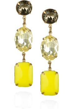 Lulu Frost's vintage glass-embellished Yellow drop earrings. WOW.