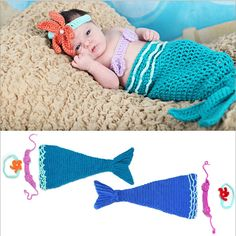 Free Shipping New 2015 Fantasia Infantil Child Girls Baby Mermaid Costume / 3 Pieces Blue Crochet Infant Mermaid Costume #Affiliate