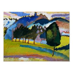 Wassily Kandinsky watercolor painting, Landscape with Rolling Hills. Size: x Gender: unisex. Material: Value Poster Paper (Matte). Kandinsky For Kids, Kandinsky Art, Wassily Kandinsky Paintings, Easy Watercolor, Watercolor Landscape, Abstract Landscape, Landscape Paintings, Rembrandt Art, Art Lessons For Kids