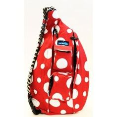 """Kavu red and white Alabama rope bag  This bag is made by Kavu. It is made of tough 100% cotton canvas. The bag measures 21"""" x 11"""". We commissioned Kavu to make this bag and we love it. This body is Kavu's number one body called the rope bag.   $49.99"""