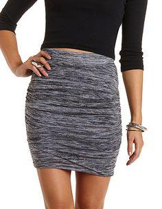Marled & Ruched Tulip Mini Skirt: Charlotte Russe