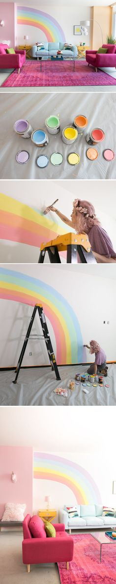Rainbow Mural Wall Paint yourself a rainbow emoji and make your wall the happiest DIY mural/ photo background ever!Paint yourself a rainbow emoji and make your wall the happiest DIY mural/ photo background ever! Rainbow Bedroom, Rainbow Wall, Unicorn Bedroom, Unicorn Rooms, Kids Bedroom, Bedroom Decor, Kids Rooms, Deco Design, Design Design